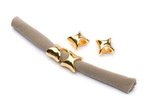 Metallpärla guld 10mm för läder Xmm