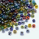 8/0 Seed Beads, 2-3mm, Lustered Colorlined Mix