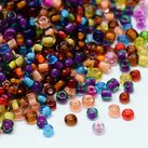 8/0 Seed Beads, 2-3mm, Transparent Colorlined Mix
