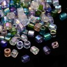 Seed Beads Kub, 3-3,5mm, Transp AB Mix