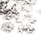 Metallmix elefanter, antiksilver