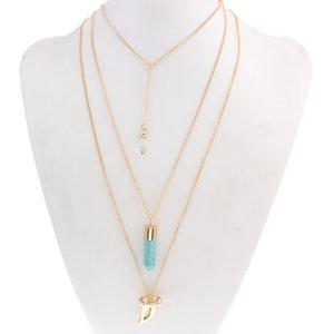 Halsband 3-rad slipad bergkristall/syn turkos