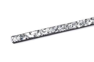 Konstläder glitter, silver 6x2mm