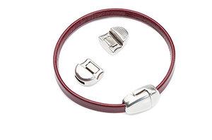 Kvalité! Magnetlås för läderband, 15x10mm hål: 5mm