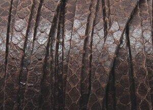 Grekiskt Platt Läderband 5x1,5mm, Mörkbrun Ormskinnsmönster