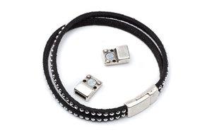 Kvalité! Magnetlås för läderband, 17x8mm hål: 6x2mm