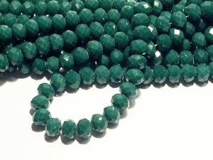 Glaskristall, Mörk Grön, 8x6mm