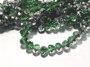 Glaskristall, Grön/ Silver, 10x8mm