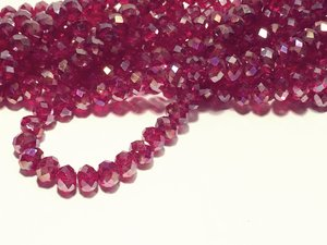 Glaskristall, Mörkt Röd AB, 6x4,5mm
