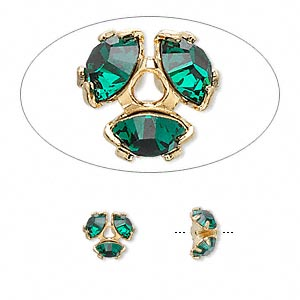 Swarovski strasshatt guld/emerald, 8mm