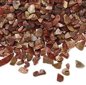 Röd Jaspis- Chips, 2-4mm utan hål