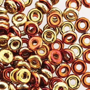 O Beads 3,8mm- Jet Calif Gold Rush